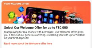 Welcome offer leovegas