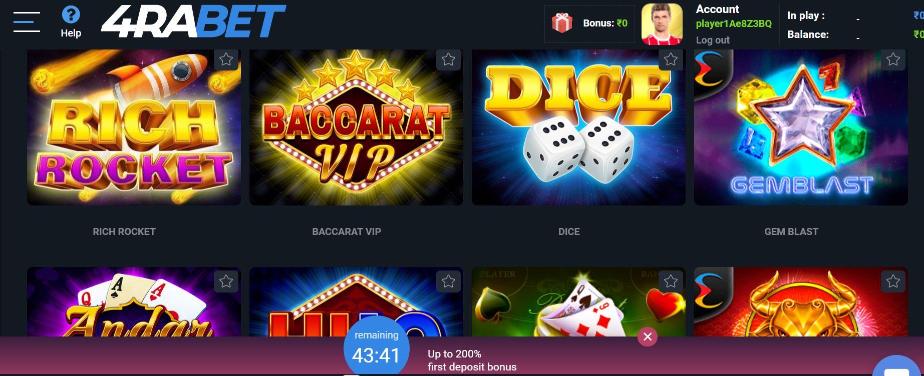 4rabet casino lobby