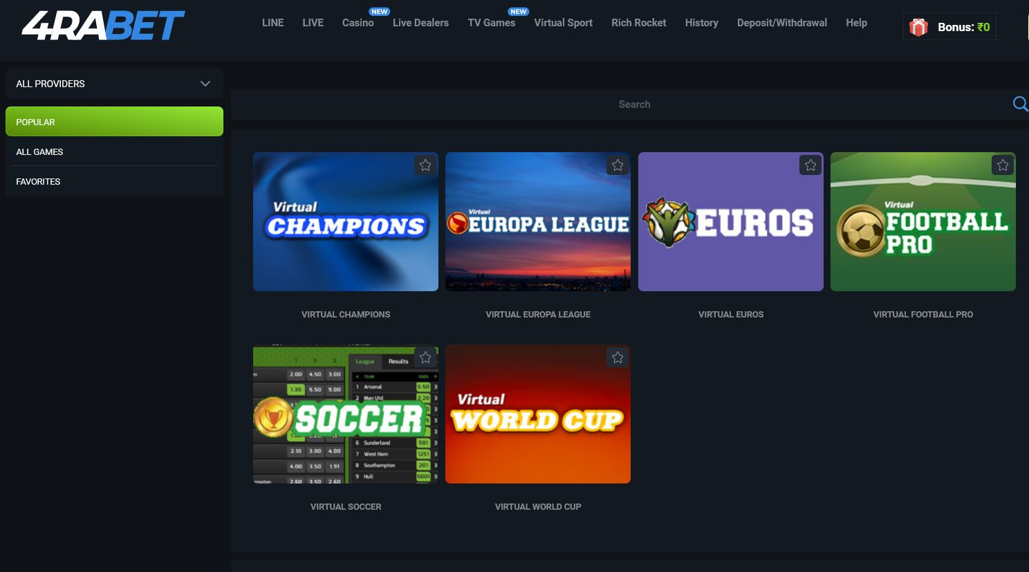 Virtual Sport betting